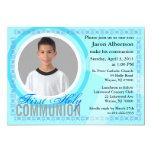 "First Holy Communion Invitation Classic Blue 5"" X 7"" Invitation Card"