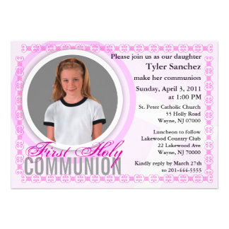 First Holy Communion Invitation Classic Pink