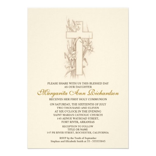 "First Holy Communion Invitation - elegant cross 5"" X 7 ..."