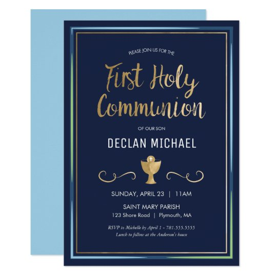 First Holy Communion Invitation - Elegant, Simple