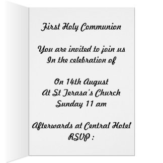 First Holy Communion Invitation for boys