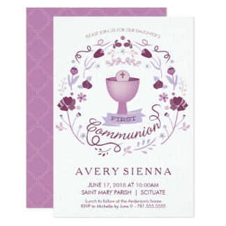 First Holy Communion Invitation Girl's Invite Card