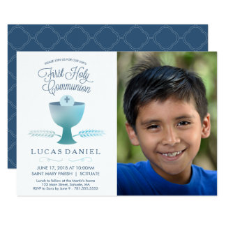 First Holy Communion Invitation - Picture, Boy