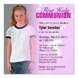 First Holy Communion Invitation Pink Cross