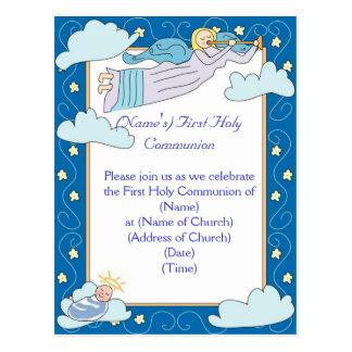 First Holy Communion Invitation Postcard