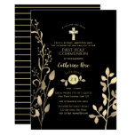 First Holy Communion Invitations Black Gold