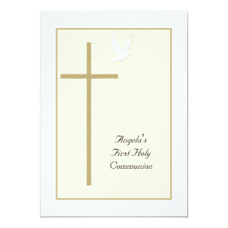 First Holy Communion Invitations -- Cross & Dove Card
