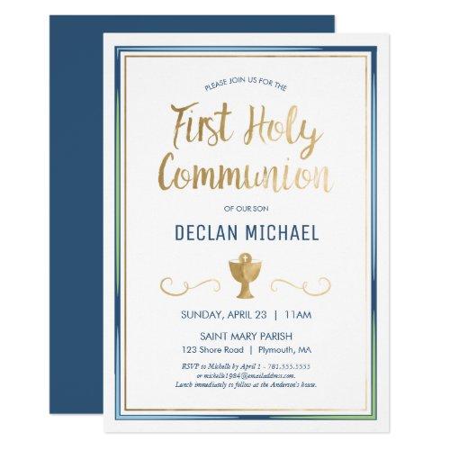 First Holy Communion Invite _ Elegant Simple Blue