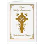 First Holy Communion Invite - Golden Cross Floral Greeting Cards