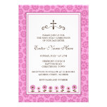 First holy communion invite, pink with flowers