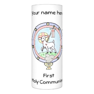 First Holy Communion Lamb of God Customizable Flameless Candle