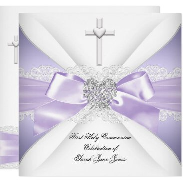 Valentines Themed First Holy Communion Lavender Silver Heart Girl Card