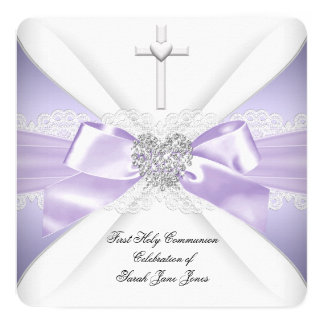 First Holy Communion Lavender Silver Heart Girl Card