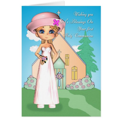 first holy communion little girl and church greeting card