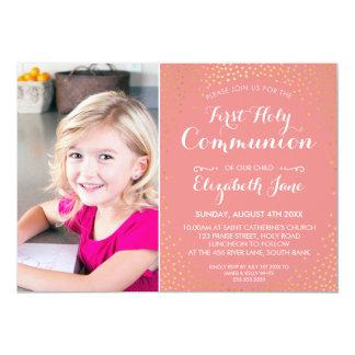 FIRST HOLY COMMUNION mini gold confetti cute coral Card