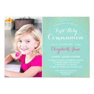 "FIRST HOLY COMMUNION mini gold confetti mint 5"" X 7"" Invitation Card"
