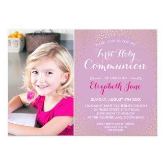 FIRST HOLY COMMUNION mini gold confetti purple Card