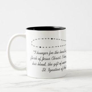 First Holy Communion Mug-Black and White Rosary Two-Tone Coffee Mug