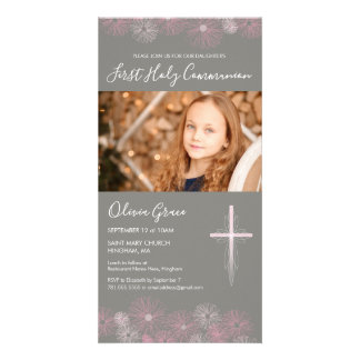 First Holy Communion Photo Card Invite - Girl