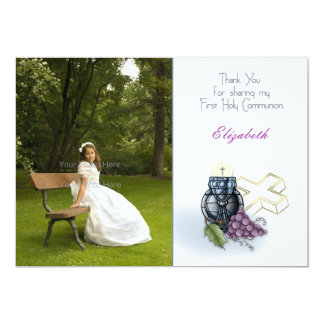 First Holy Communion Photo Thank You Card