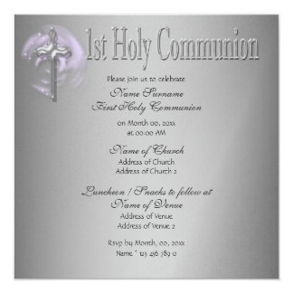 First holy communion pink gray card