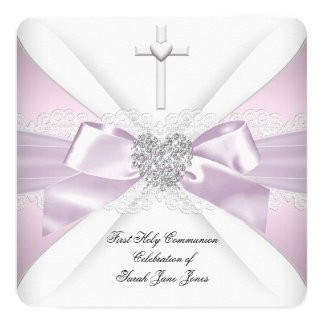 First Holy Communion Pink White Silver Heart Girl Card