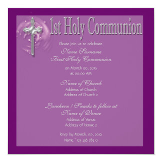 First holy communion purple religious card