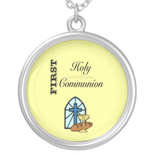 First Holy Communion Round Pendant Necklace