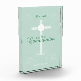 First Holy Communion, Script in Soft Green Acrylic Award
