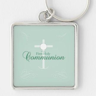 First Holy Communion, Script in Soft Green Keychain