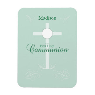 First Holy Communion, Script in Soft Green Magnet