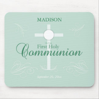 First Holy Communion, Script in Soft Green Mouse Pad