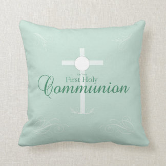 First Holy Communion, Script in Soft Green Throw Pillow