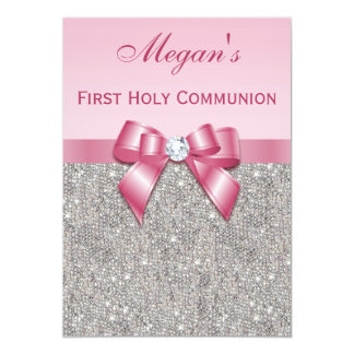 First Holy Communion Silver Jewels, Bow & Diamond 5x7 Paper Invitation Card