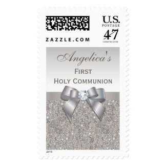 First Holy Communion Silver Jewels, Bow & Diamond Postage Stamp