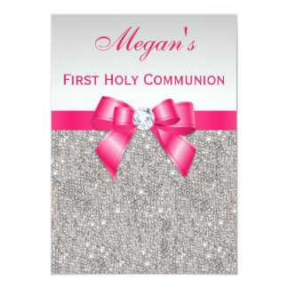 First Holy Communion Silver Jewels, Hot pink Bow 5x7 Paper Invitation Card