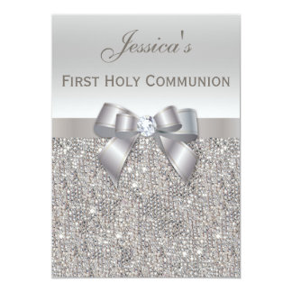 First Holy Communion Silver Sequins and Bow 5x7 Paper Invitation Card