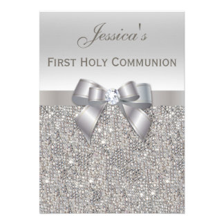 First Holy Communion Silver Sequins and Bow Custom Invitations