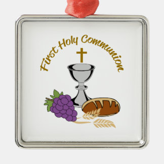 FIRST HOLY COMMUNION SQUARE METAL CHRISTMAS ORNAMENT