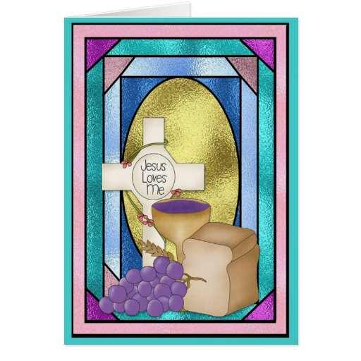 First Holy Communion, Stained Glass Greeting Card
