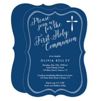 First Holy Communion Tag Frame and Cross, Navy Card
