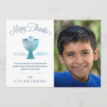 "First Holy Communion Thank You Card - Photo, Boy<br><div class=""desc"">This modern and elegant 5&quot;x7&quot; First Holy Communion Photo Thank You card features a chalice, wheat, and host - symbols of the Eucharist. The words &quot;Many Thanks&quot; are written in an elegant blue font. The text, photo, and background color (on the back) can be customized to your liking. A perfect...</div>"