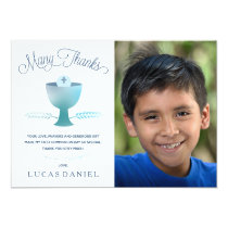 First Holy Communion Thank You Card - Photo, Boy