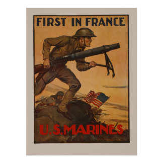 First In France - U S Marines Poster