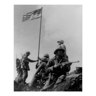 First Iwo Jima Flag Raising on February 23rd 1945 Poster