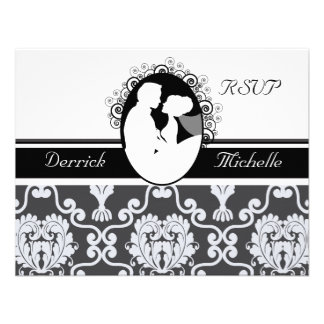 First Kiss Black and White Wedding RSVP Card Invitation