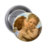 First Kiss by Bouguereau, Vintage Victorian Angels Pinback Buttons
