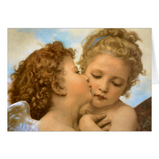 First Kiss by Bouguereau, Vintage Victorian Angels Cards