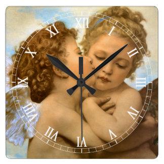 First Kiss by Bouguereau, Vintage Victorian Angels Wallclocks