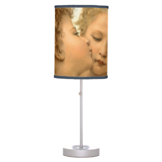 First Kiss by Bouguereau, Vintage Victorian Angels Desk Lamp